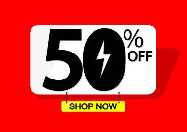 Flash Sale 50% off, banner design template, discount tag, vector illustration