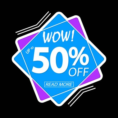 Sale up to 50% off, banner design template, wow discount tag, vector illustration