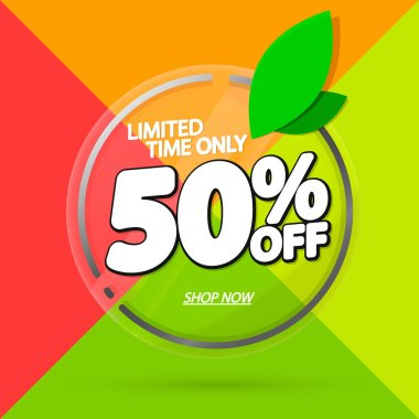 Sale 50% off, banner design template, discount tag, app icon, vector illustration