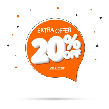 Sale 20% off tag, speech bubble banner design template, discount tag, extra offer, app icon, vector illustration