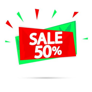 Christmas Sale, 50% off, banner design template, Xmas discount tag, vector illustration