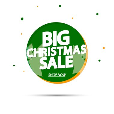 Big Christmas Sale, banner design template, Xmas discount tag, vector illustration