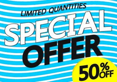 Special Offer 50% off, sale poster design template, vector illustration
