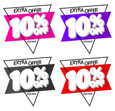 Sale 10% off, discount banners design template, promo tags, extra offers, vector illustration