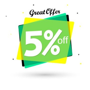 Sale 5% off, bubble banner design template, discount tag, great offer, vector illustration