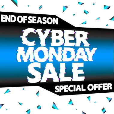 Cyber Monday Sale, poster design template, end of season, special offer, vector illustration