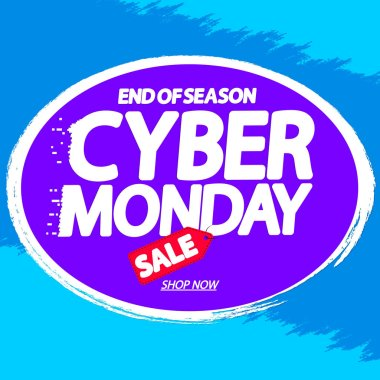 Cyber Monday Sale, poster design template, end of season, vector illustration