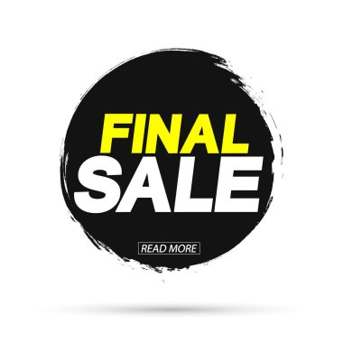 Final Sale, banner design template, discount tag, grunge brush, vector illustration