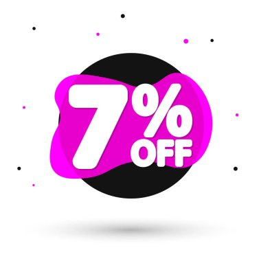 Sale 7% off, bubble banner design template, discount tag, vector illustration