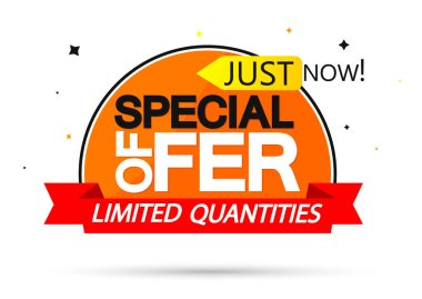 Special Offer, sale banner design template, discount tag, app icon, vector illustration