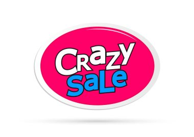 Crazy Sale, offer tag, discount banner design template, vector illustration