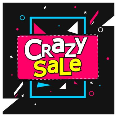 Crazy Sale, offer tag, discount banner design template, vector illustration