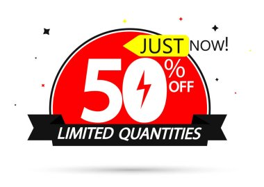 Flash Sale 50% off, banner design template, discount tag, vector illustration