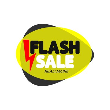 Flash Sale tag, bubble banner design template, app icon, vector illustration