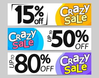 Set Crazy Sal web banners design template, vector illustration