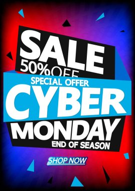 Cyber Monday Sale, poster design template, 50% off, special offer, vector illustration