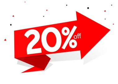Sale 20% off, banner design template, discount tag, app icon, lowest price, vector illustration