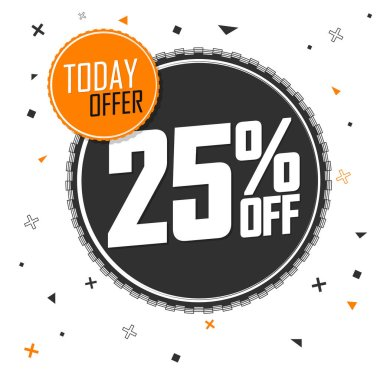 Sale 25% off, banner design template, discount tag, app icon, lowest price, vector illustration