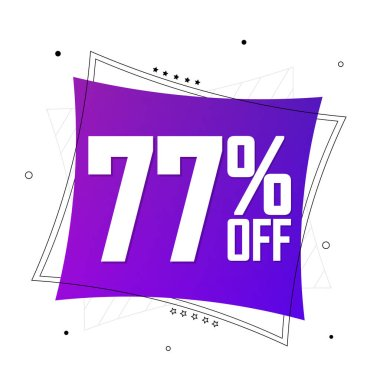 Sale 77% off, banner design template, discount tag, app icon, lowest price, vector illustration
