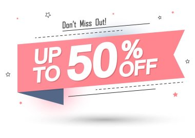 Sale 50% off, banner design template, discount tag, app icon, lowest price, vector illustration