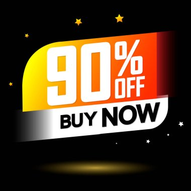 Sale 90% off, banner design template, discount tag, app icon, lowest price, vector illustration