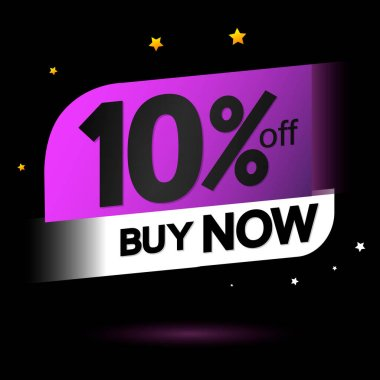 Sale 10% off, banner design template, discount tag, app icon, lowest price, vector illustration