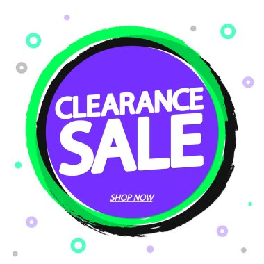 Clearance Sale, promotion banner design template, discount tag, vector illustration