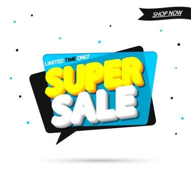 Super Sale, tag design template, discount speech bubble banner, app icon, vector illustration