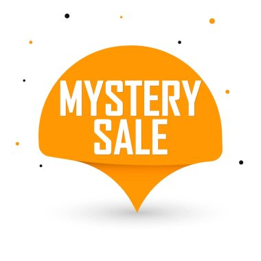 Mystery Sale, special offer, promotion tag design template, discount speech bubble banner, vector illustration