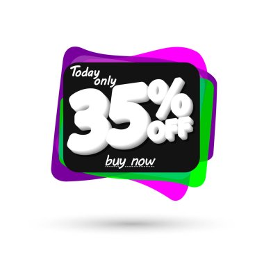 Sale 35% off, bubble banner design template, discount tag, spend up and save more, vector illustration