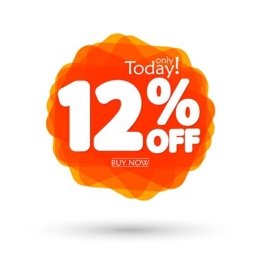 Sale 12% off, bubble banner design template, discount tag, spend up and save more, vector illustration