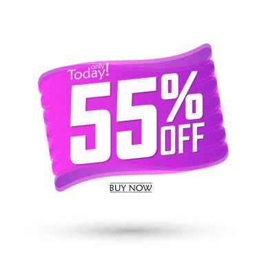 Sale 55% off, bubble banner design template, discount tag, spend up and save more, vector illustration