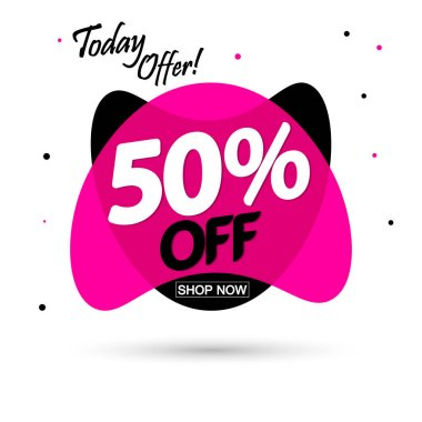 Sale 50% off, bubble banner design template, discount tag, spend up and save more, vector illustration