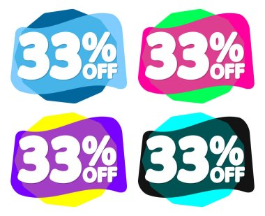 Set Sale 33% off bubble banners, discount tags design template, vector illustration