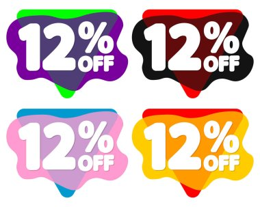 Set Sale 12% off bubble banners, discount tags design template, vector illustration