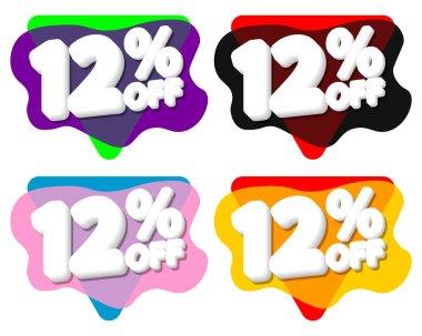 Set Sale 12% off bubble banners, discount tags design template, vector illustration
