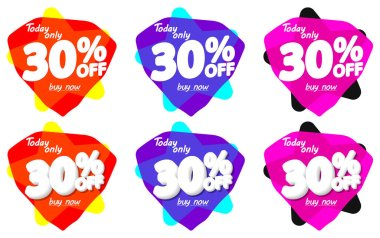 Set Sale 30% off bubble banners, discount tags design template, vector illustration