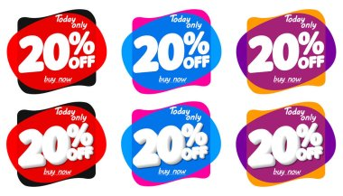 Set Sale 20% off bubble banners, discount tags design template, vector illustration