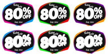 Set Sale 80% off bubble banners, discount tags design template, vector illustration