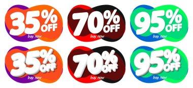 Set Sale bubble banners, discount tags design template, vector illustration