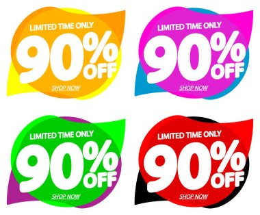 Set Sale 90% off bubble banners, discount tags design template, vector illustration