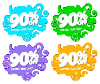 Set Sale 90% off bubble banners, discount tags design template, vector illustration