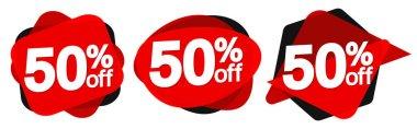 Set Sale 50% off bubble banners, discount tags design template, vector illustration
