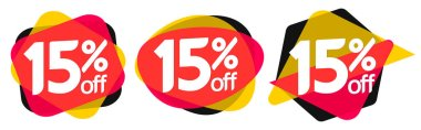 Set Sale 15% off bubble banners, discount tags design template, vector illustration