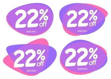 Set Sale 22% off bubble banners, discount tags design template, vector illustration