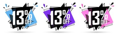 Set Sale 13% off banners, discount tags design template, lowest price, vector illustration