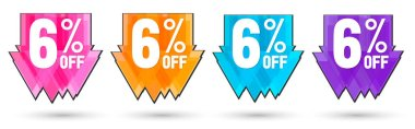 Set Sale 6% off banners, discount tags design template, lowest price, vector illustration