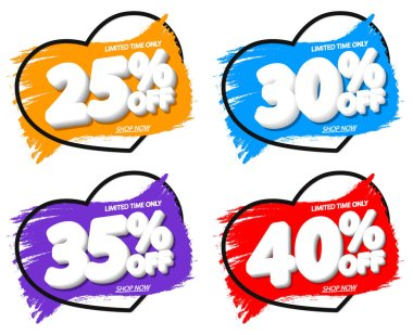Set Sale banners design template, discount tags, grunge brush, vector illustration