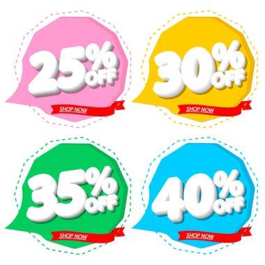Set Sale speech bubble banners design template, discount tags, app icons, vector illustration