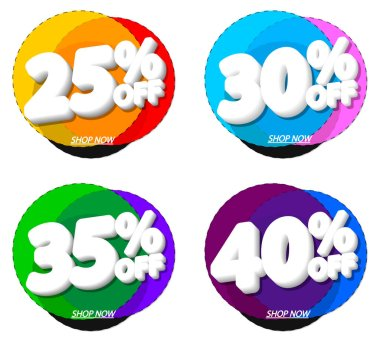 Set Sale bubble banners design template, discount tags, app icons, vector illustration